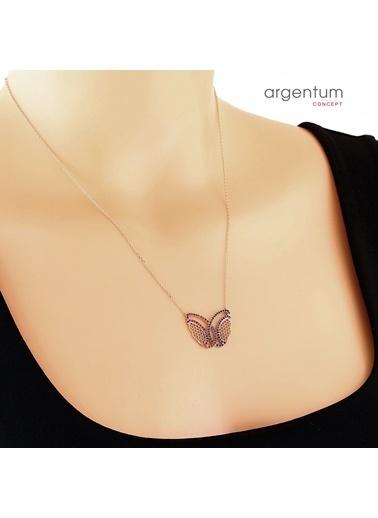 Argentum Concept Zirkon Taşlı Kelebek Formlu Gümüş Kolye Renkli